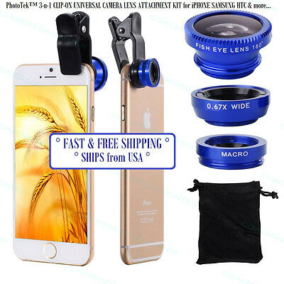 3-n-1 Clip On Cell Phone Camera Lens Kit Attachment Wide Macro HD360 HD450 BLUE