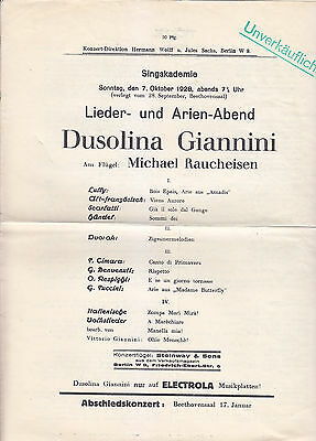 Recital Programme 1928 Dusolina Giannini Michael Raucheisen Handel Lully Puccini