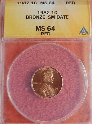 1982  Bronze Small Date Lincoln Cent ANACS MS  64 RD