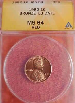1982  Bronze Large Date Lincoln Cent ANACS MS  64 RD