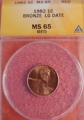 1982  Bronze Large Date Lincoln Cent ANACS MS  65 RD
