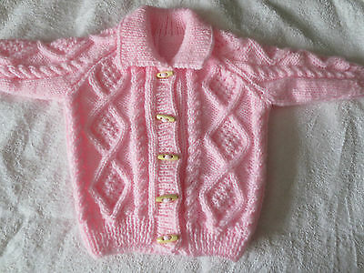 MADE TO ORDER 6-12 Mths +1-2 3-4 years Hand Knitted Aran Cardigan FREE UK P&P