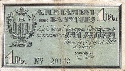 Billete Local1 Ptas. Ayuntamiento Banyoles 1937- Ver Fotos