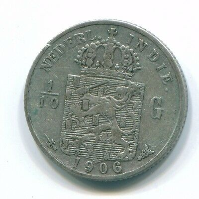 1906 Netherlands East Indies 1/10 Gulden Silver Colonial Coin Nl13225#3