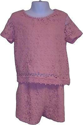 USED Girls Next Pink Lace Mesh two Piece Set Size 9 Years (P.L)