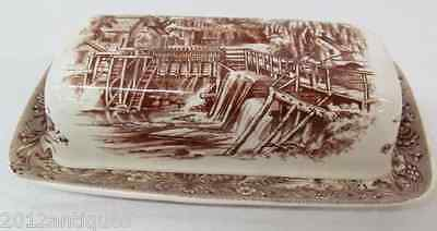 Churchill Currier & Ives Mill Dam 1/4 Lb Butter Dish Brown Heritage Mint