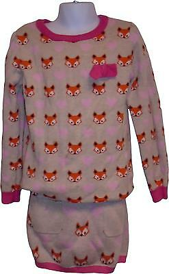 USED Girls H&M Fox Printed Wooly two Piece Set Size 6-8 Years (P.L)