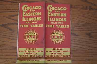 Chicago And Eastern Illinois Railway January 2, 1935 Timetable