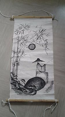 vintage painted Chinese scroll