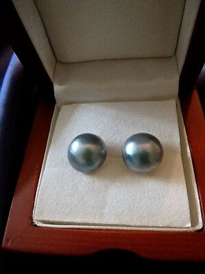 14Ct Yellow Gold Silver Grey 12Mm Mabe Pearl Earrings…nb