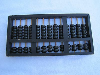 Vintage Wooden Lotus Flower Brand ABACUS Counter Adding Calculator