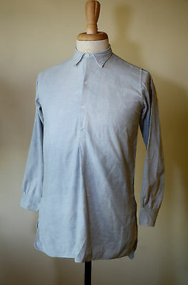 Vintage 1940s French Cotton Shirt Work Smock Workwear Chore Darned