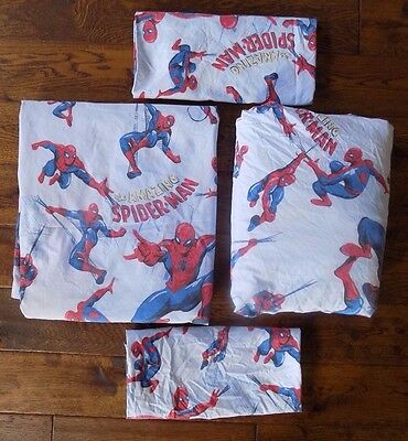 Pottery Barn Kids Spiderman Queen Sheets Flat Fitted 2 Pillowcases Bedding Blue