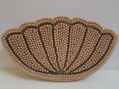 Vintage Miss Universe Beaded Purse Evening Bag, Shell Shaped