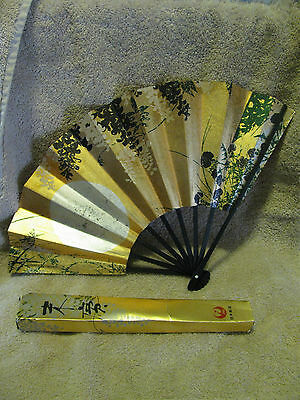 Vtg JAL JAPAN AIRLINES GOLD PAPER FOLDING HAND FAN Flowers of the season Kayama