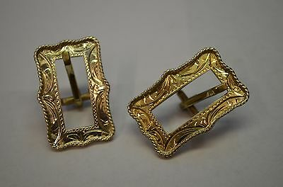 Fleming Sterling Silver Decorative Horse Bridle Headstall Buckles PAIR 3/8 belt