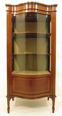 A Beautiful Antique Serpentine Fronted Glazed Dispaly Cabinet