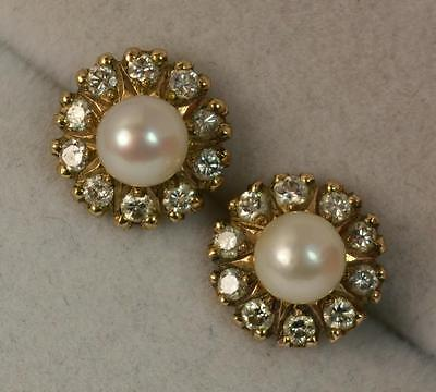 Beautiful Pearl and Diamond 9ct Gold Stud Cluster Earrings p1012
