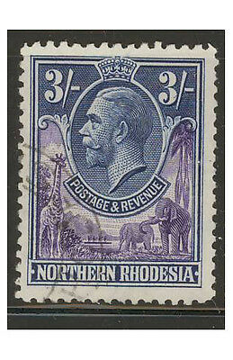 Northern Rhodesia SG13 USED - 3s violet & blue  - KGV King George V