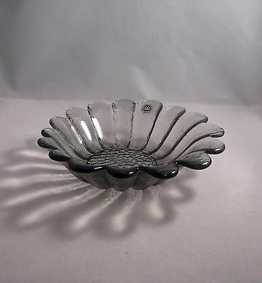 Small Vintage Dartington Glass Daisy Bowl - Midnight Grey
