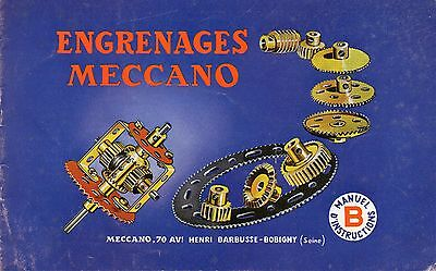 Meccano engrenages manuel instructions B 1964