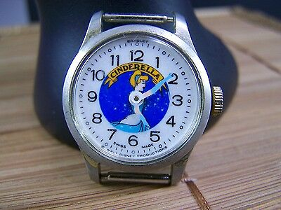 Vintage Cinderella Disney Anolog Watch  Bradley Swiss movement 1960 Working
