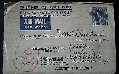 A WW2 Prisoner Of War Airmail Letter to A British Soldier held in Germany
