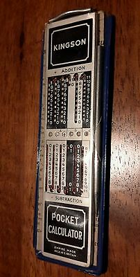 Vintage Kingson Pocket Calculator with case and instructions