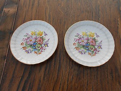 "2 Vintage Duchess China Plates Spring Flowers 5.5"" diameter"