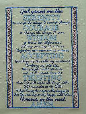 THE SERENITY PRAYER Embroidered Quilt Panel Block