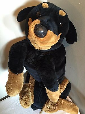 "Large E&J Rottweiler Furry Puppy Dog Realistic Stuffed Plush Black & Tan 28"" Toy"