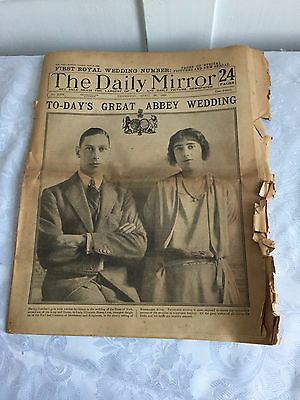 Two Old Newspapers Daily Mirror Royal Wedding Pictures and News April 26/27 1923