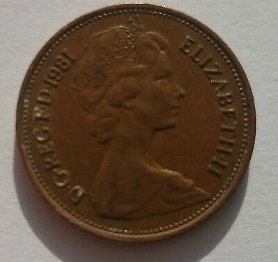 2 new pence coin, 2p 1981