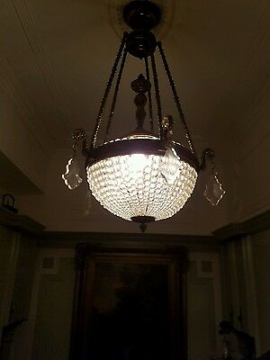 Antique French Empire C=0pp crystal chandelier crystal prisms