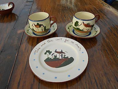 2 Vintage Torquay Ware Cups and Saucers and 1 Plate - Watcombe and Babbacombe