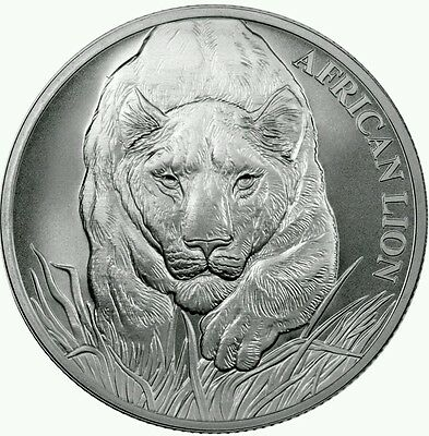 2017 Republic of Chad 5000 Francs 1 oz. Silver African Lion Coin With COA..