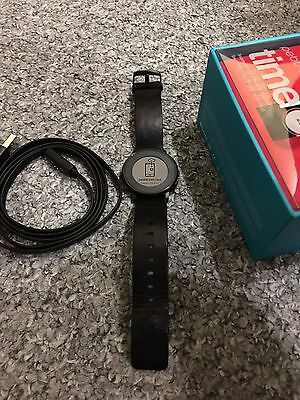 Pebble Time Round 20mm Smartwatch for Apple/Android - Black leather
