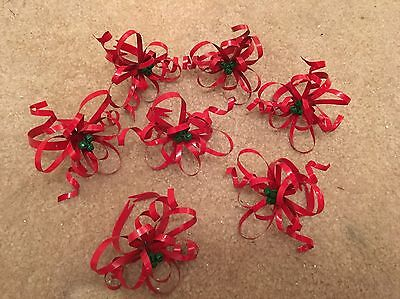 Vintage Metal Holly Berry Napkin Rings Holders Lot of 7 Christmas Holiday