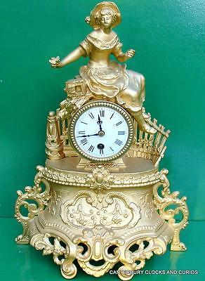Antique French Japy Freres 8 Day Gold Gilt Figurine Spelter Mantle Clock