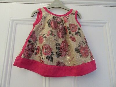 12-18m: Lovely summer top/blouse -Cotton/lined -Beige +pink flowers/sequins -M&S