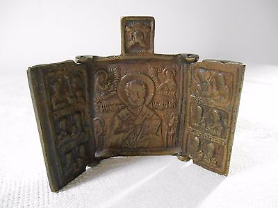 Antique Miniature Russian Icon Triptych Folding Brass Travelling Religious