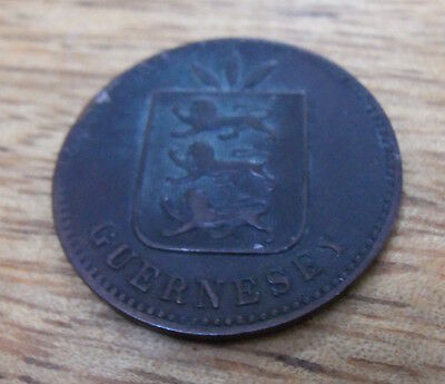 Guernsey four 4 doubles coin 1893. used