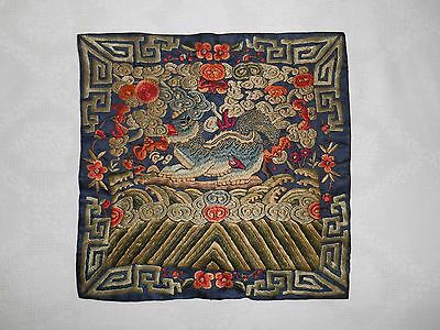 Antique 19th Century Chinese Embroidered Silk Military Rank Badge Textile