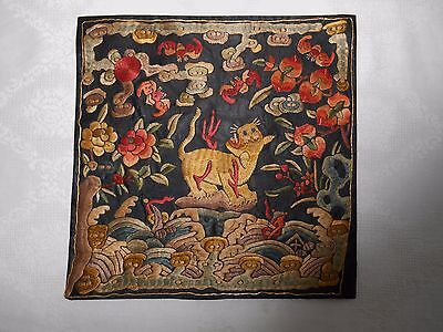 Antique 19thc Chinese Embroidered Silk Military High Rank Badge Textile