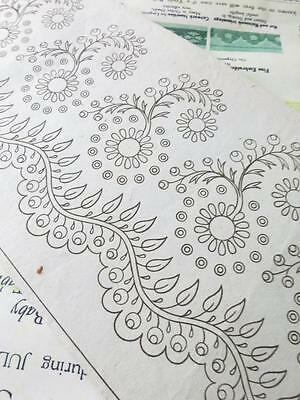 Antique Georgian Printed Whitework Embroidery Edging Design- Circa 1820-30