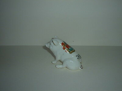 Rare Arcadian Crested 'lulworth' China Ware Model Of A Sussex Pig With Poem -Vgc
