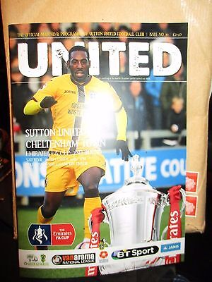 Sutton United Cheltenham Official Fa Cup 2Cd Round 2016 Programme