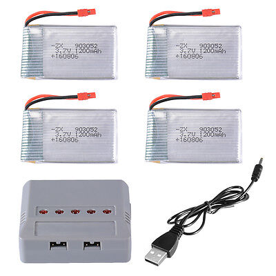 5pcs 3.7V 1200mAh Lipo Battery Charger for Syma X5HW X5HC Drone Quadcopter RC474
