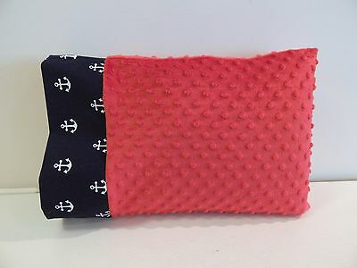 NWT Nautical Navy Anchor Red Minky Dot Toddler Pillowcase 12x16 Travel Beach