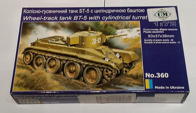 Unimodels 360 Wheel Track Tank BT-5 Rote Armee Radpanzer 1:72 WWII Photo Etched